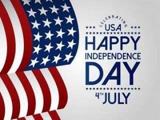 7月4日愉快的美国独立日与挥动旗子的美国