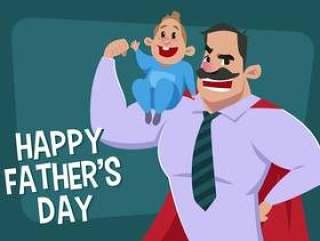 超级英雄爸爸抱着儿子