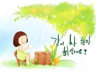 韩国儿童插画psd素材-51