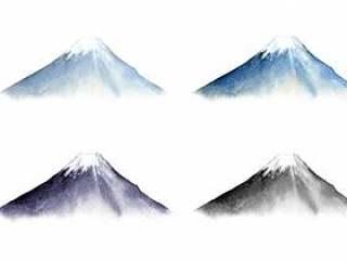 富士山 - 水彩画和水墨画风格