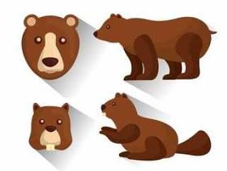 北美灰熊和海狸动物野生生物传染媒介例证