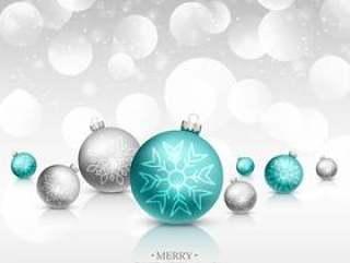 圣诞节庆祝贺卡与现实圣诞球