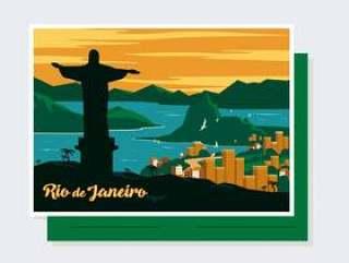 里约热内卢明信片矢量