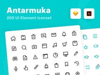 有关用户界面需求的最新图标包,但具有非常独特的质量图标。包含非常独特和灵活的图标,适合您的数字需求。,Antarmuka:UI元素图标