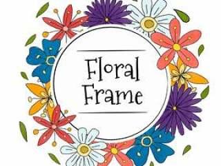 水彩多彩花卉框架