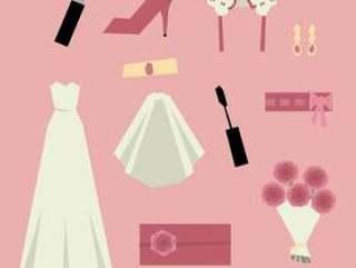 粉红色婚礼的东西为妇女