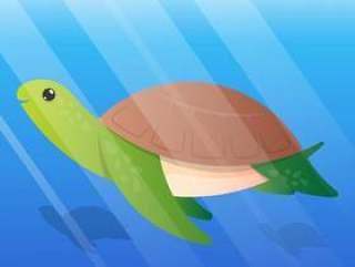 可爱的乌龟卡通水下插图