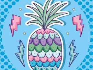 波普艺术漫画与菠萝