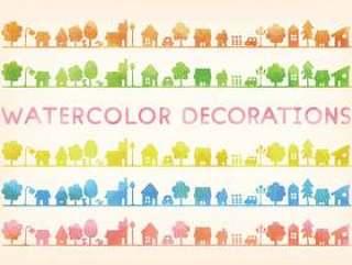水彩触摸城市景观剪影5颜色设置