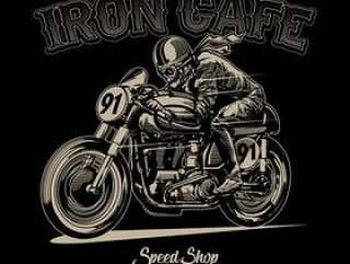 头骨骑老式摩托车