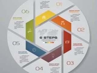 6步循环图表图表元素。