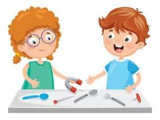 孩子的传染媒介例证使用磁铁的