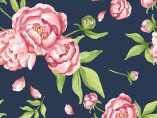 手拉的桃红色牡丹样式