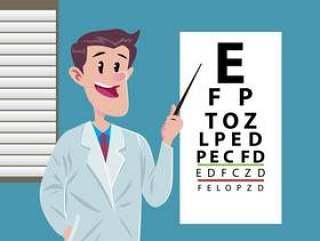 与年轻医生的眼睛测试