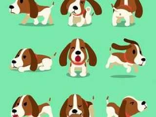 矢量卡通人物猎犬狗构成设计