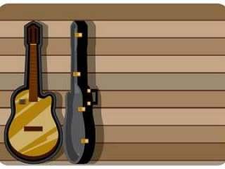 与木背景传染媒介的经典吉他盒
