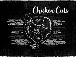 鸡肉削减矢量背景