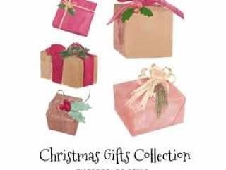 水彩圣诞节礼物集合集合