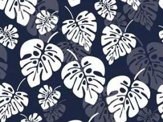 与白色monstera棕榈叶的夏天无缝的样式在蓝色背景
