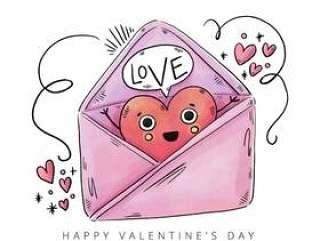 可爱的信封,内有心形字符和饰物,情人节&#x; s天