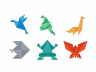 折纸纸动物矢量
