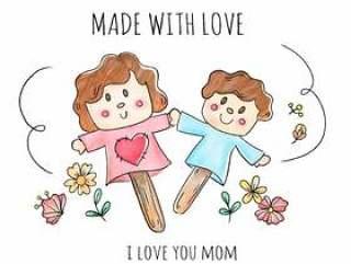 用调色板和花做的逗人喜爱的玩偶和儿子