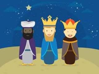 三个国王与装饰明星挂图