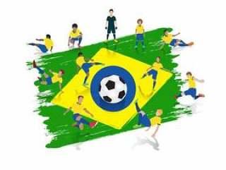 导航足球运动员队有巴西旗子背景