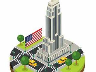 纽约市等轴测图帝国大厦矢量