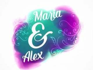 婚礼邀请海报设计与水彩效果和弗洛尔