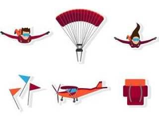 平的跳伞运动图标