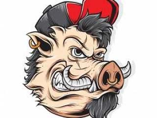 愤怒的猪矢量