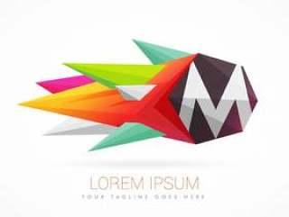 与字母M的多彩抽象标志