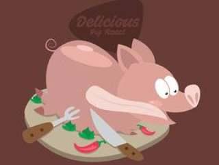 美味可爱的猪烤矢量