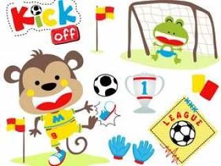 传染媒介套在足球赛的动物动画片