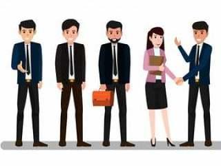 集团的业务男人和女人矢量图。