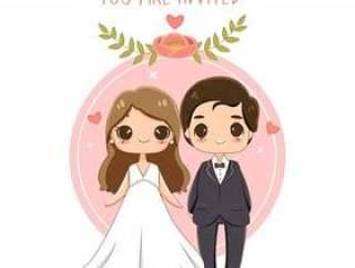 逗人喜爱的新娘和新郎在婚礼邀请卡片