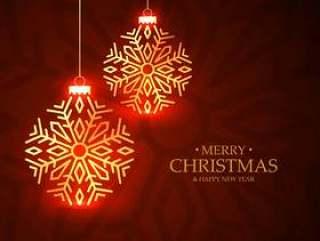 金色发光圣诞球贺卡红色背景上