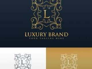 字母L的复古花卉风格会标标志设计