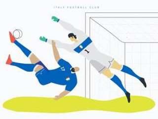 意大利世界杯足球人物平面矢量图