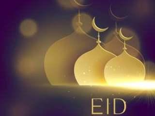 优雅的清真寺金色形状上紫色的散景背景为开斋节