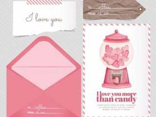 矢量糖果卡和信封