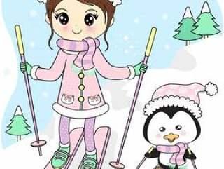 有朋友企鹅滑雪的女孩