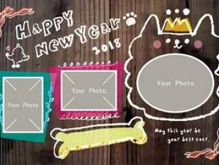 照片新年纸板黑板艺术风格木纹