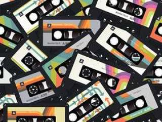 复古老式盒式磁带无缝背景矢量