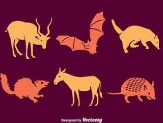 南美洲剪影动物矢量