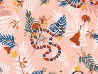 无缝模式向量的多彩野生森林与蛇