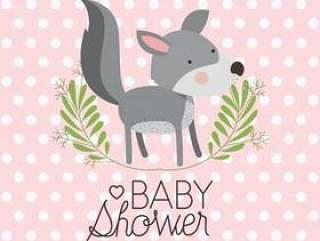 婴儿淋浴卡与可爱的小狗