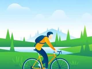骑自行车穿越乡村