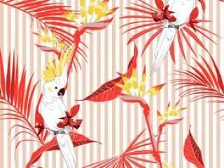 有金刚鹦鹉鸟的无缝的热带叶子在条纹